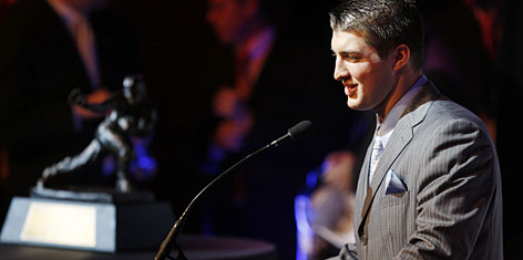 Florida quarterback Tim Tebow makes his speech after becoming the first sophomore ever to win the Heisman Trophy.