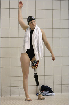 Paralympic hopeful Melissa Stockwell lost her left leg in an explosion while she was on duty in Iraq. She uses a prosthetic limb to walk, but says she turned to competitive swimming because she didn't have to use it in the water.