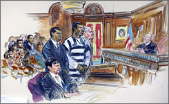 An artist's rendering of Michael Vick, center in prison stripes, appearing before Judge Henry E. Hudson on Monday.