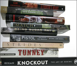 Some of the books for sports fans this holiday season. Boxing and basketball are two of the topics available to the reader.