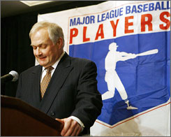 Baseball union chief Donald Fehr addresses the media in New York after release of the Mitchell Report. He cautioned against a rush to judgment on any of the players mentioned in the probe.