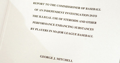 The front page of the Mitchell Report compiled by former senator George Mitchell. The study is the talk of the baseball world after it named many prominent major league players. Most fans in a USA TODAY/Gallup Poll are not surprised by the report's findings.