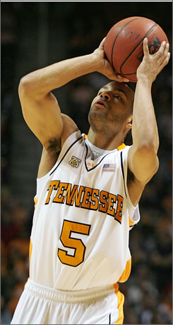 Chris Lofton shot his way into the school record books Wednesday night, becoming Tennessee's all-time three-point scorer.