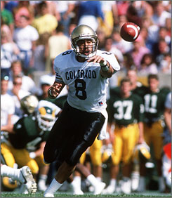 Sal Aunese started at quarterback for Colorado in 1987 and 1988, but died of stomach cancer in 1989 at 21. He was the father of the son of then-coach Bill McCartney's daughter.