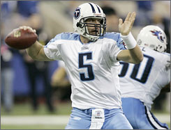 Kerry Collins filled in for the injured 	Vince Young in the third quarter, guiding the Titans on three drives that led to field goals.