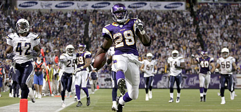 Minnesota's Adrian Peterson finished second in rushing yards during his rookie season, which included two games with more than 200 yards on the ground. He set and NFL single-game record when he rushed for 296 yards against San Diego on Nov. 4.