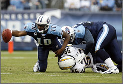 Titans quarterback Vince Young, who had to leave the team's Week 17 win that clinched its playoff spot, will face a Chargers squad with which Tennessee had a chippy contest on Dec. 10.