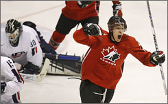 Canada's Shawn Matthias celebrates after scoring on Team USA goalie Jeremy Smith during the second period of their world junior hockey semifinal. The defending champion Canadians won 4-1 to advance to the final against Sweden.