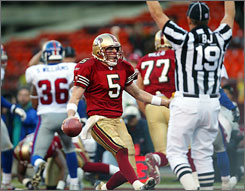 Jeff Garcia led the San Francisco 49ers to a 24-point comeback against the Giants in a Jan. 5, 2003 wild-card game. The current Tampa Bay quarterback has knocked New York out of the playoffs twice in the past six seasons.