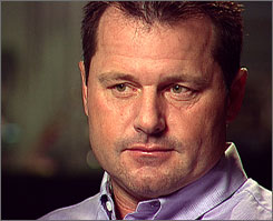 Roger Clemens ponders a question from 60 Minutes correspondent Mike Wallace during an interview broadcast Sunday night.