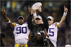 LSU coach Les Miles is looking toward his next chance to hold the national championship trophy.