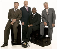 The quartet that anchors Fox's NFL pregame coverage (from left): Howie Long, Terry Bradshaw, Curt Menefee and Jimmy Johnson.