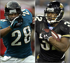 Jaguars running backs Fred Taylor, left, and Maurice Jones Drew led the team to an average of 149.4 yards rushing per game, second in the NFL.