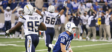 San Diego defenders Shaun Phillips, left, and Shawne Merriman celebrate after stopping Peyton Manning and the Colts on fourth down late in the game. Manning's Colts lost in their first postseason game since winning Super Bowl XLI.