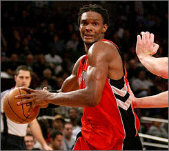 Raptors forward Chris Bosh is averaging 21.6 points and 9.3 rebounds a game this season.