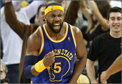 Baron Davis is expressive on the court for the Golden State Warriors, as shown during a game this month. Off the court, he's seeking to express his thoughts on social change as a documentarian.