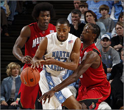 Maryland's James Gist knocks the ball away from North Carolina's Wayne Ellington during the unranked Terps' uspet of the top-ranked Tar Heels.