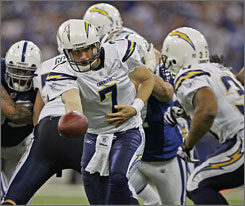 Billy Volek scored the go-ahead touchdown for San Diego in last week's win in Indianapolis. If Philip Rivers can't play in New England, the Chargers will ask Volek to defeat the Patriots for the first time this season.