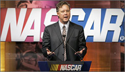 Brian France, above, outlined the commitment to keeping it simple during a news conference at the NASCAR R&D Center Jan. 21.