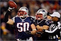 "Patriots linebackers Mike Vrabel, left, and Tedy Bruschi are among an aging but still effective linebacking corps. ""Football is what I'm meant to do,"" said Bruschi, ""and I know that I'm still good at it."""