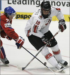 Steven Stamkos, right, is expected to be the top pick at this year's NHL draft. Stamkos was a key member of Canada's world championship-winning junior team.