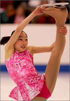 Mirai Nagasu,14, won the women's short program at the USFS championships on Thursday night in Minnesota.