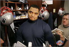Patriots defensive lineman Richard Seymour was one of several players who met with the media during an open locker room period in New England on Thursday.