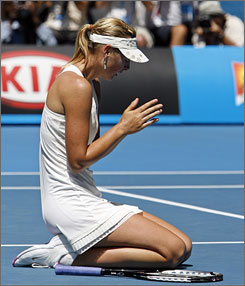 Maria Sharapova falls to her knees after winning the final match at the Australian Open in Melbourne Park, her first Grand Slam title since the 2006 U.S. Open.