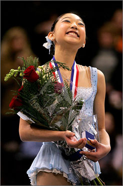 Mirai Nagasu, 14, won the women's national title Saturday night, but she's too young to skate in the world championships in March.