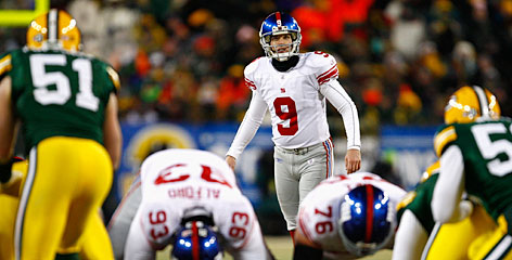 Lawrence Tynes lines up his game-winning 47-yard field goal to help the Giants beat the Packers in the NFC Championship game. The Giants stuck with Tynes despite some early shakiness this season.