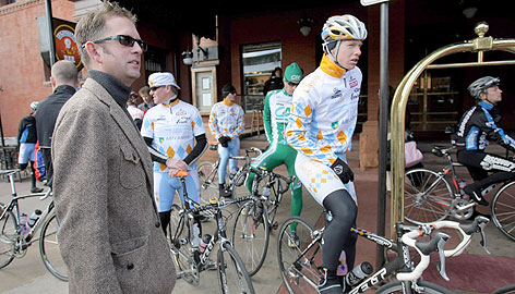 Slipstream/Chipotle CEO Jonathan Vaughters, left, hopes his team will catch the attention of the Tour de France with a strong showing in Qatar. In this shot, Vaughters and his racers get ready for a training run in Colorado last fall.