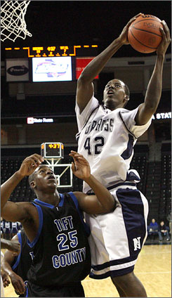 Al-Farouqu Aminu, shown in a game last year, had 35 points and had 11  rebounds for No. 13 Norcross High in a 68-65 loss to No. 19 Oak Hill over the weekend.