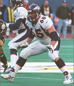 Denver Broncos tackle Gary Zimmerman pass blocks during the 1998 playoffs. He's one of five former NFL greats elected to the Pro Football Hall of Fame this past weekend.