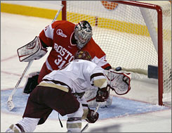 Boston College's Nathan Gerbe fired the puck past Boston University goalie John Muse in overtime, allowing the Eagles to reach the Beanpot final for the fifth time in six years.
