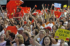 China will be a formidable foe for the U.S. in the 2008 Summer Olympics. In 2004, China won 32 gold medals.