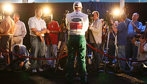 Dale Earnhardt Jr. meets the press during NASCAR Media Day at Daytona International Speedway. Starting in Saturday's Bud Shootout, he'll see if he can meet growing expectations and bring an end to a 62-race dry spell.