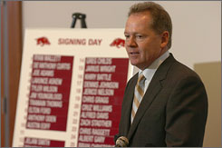 Bobby Petrino showed off his first signing class at Arkansas, which included Michigan transfer quarterback Ryan Mallett and former USC wide receiver commit Joe Adams.