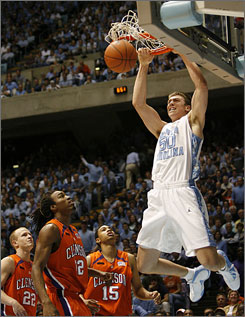 Tyler Hansbrough had 39 points and 13 rebounds for the Tar Heels, who are 53-0 against Clemson in Chapel Hill.