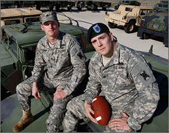 While serving in Iraq with the Louisiana National Guard's 256th Brigade, Sgt. Kenrick Cormier, left, and Sgt. Joey Stutson shared dreams of playing college football when their tours of duty ended.