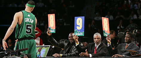 Six-foot-eight swingman Gerald Green gets his 2007 marks from Michael Jordan, left, Julius Erving and Dominique Wilkins. Green, playing this for the Timberwolves this year, will defend his NBA slam-dunk title against Magic center Dwight Howard, Grizzlies sophomore Rudy Gay and Raptors rookie Jamario Moon.