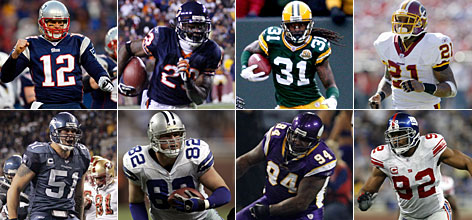 "Among the All-Pros in USA TODAY's ""Frankenstein"" method (clockwise from top left): Tom Brady, Devin Hester, Al Harris, the late Sean Taylor, Michael Strahan, Pat Williams, Jason Witten and Lofa Tatupu."