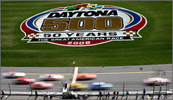 Drivers race around the trioval during the final practice for the Daytona 500 on Saturday.