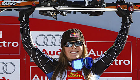 Lindsey Vonn celebrates her downhill win in Sestriere, Italy on February 9. The victory placed her among the top American downhillers of all time.