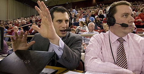 Doug Gottlieb called the Davidson-UNC Greensboro match Feb. 19 with Bob Wischusen at Davidson's campus in North Carolina. After the game, Gottlieb mingled with fans in the arena and at a local pub before calling it a night. The next day, the ESPN personality hopped on a plane headed for Minneapolis to call the Minnesota-Michigan game on Feb. 21.