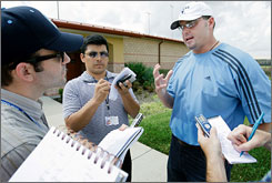 Roger Clemens meets with reporters as he arrives Tuesday at the Houston Astros' spring training facility in Kissimmee, Fla.