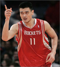 Yao Ming heads the other way after scoring in New York last month. A stress fracture in his left foot has put the Rockets superstar on the shelf for the season.