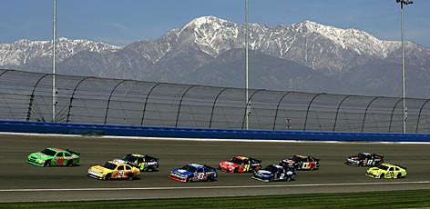 Kyle Busch's Toyota leads a varied pack of Chevy, Dodge and Ford cars at Auto Club Speedway in California. The Sprint Cup Series has been the picture of parity thus far, but 34 remaining races will tell the story this season.