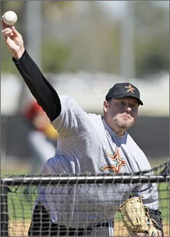 Roger Clemens threw batting practice to Astros minor leaguers on Thursday and then headed back to Houston on Friday.