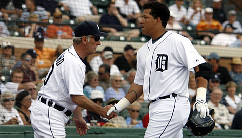 "Detroit manager Jim Leyland congratulates third baseman Miguel Cabrera after he hit a home run in his first Tigers at-bat during an exhibition on Feb. 26 in Lakeland, Fla. Leyland says Cabrera ""has the power and talent to be one of the best ever, but he has to take care of himself."""