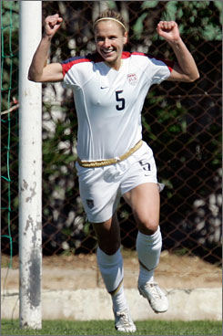 Lindsay Tarpley celebrates after scoring Team USA's second goal in their 2-0 win over Italy on Friday.